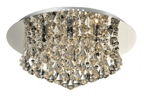 Chloe 6-light Flush Ceiling Fitting, Polished Chrome with Diamond shaped Crystals (036765)